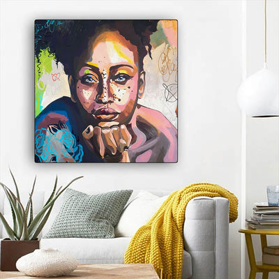 "BigProStore Black History Art Beautiful Black American Woman Abstract African Wall Art Afrocentric Home Decor BPS85836 12"" x 12"" x 0.75"" Square Canvas"