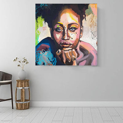 "BigProStore Black History Art Beautiful Black American Woman Abstract African Wall Art Afrocentric Home Decor BPS85836 16"" x 16"" x 0.75"" Square Canvas"