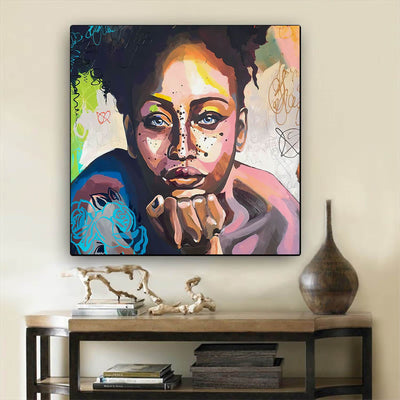 "BigProStore Black History Art Beautiful Black American Woman Abstract African Wall Art Afrocentric Home Decor BPS85836 24"" x 24"" x 0.75"" Square Canvas"