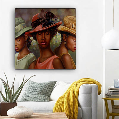 "BigProStore Black History Art Beautiful Melanin Girl African American Black Art Afrocentric Home Decor Ideas BPS55500 12"" x 12"" x 0.75"" Square Canvas"