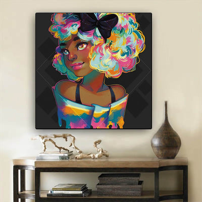 "BigProStore Black History Art Beautiful Melanin Girl Framed African Wall Art Afrocentric Living Room Ideas BPS40887 12"" x 12"" x 0.75"" Square Canvas"
