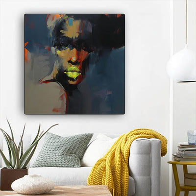 "BigProStore Black History Art Beautiful Melanin Poppin Girl African American Canvas Wall Art Afrocentric Wall Decor BPS80260 12"" x 12"" x 0.75"" Square Canvas"