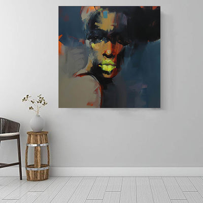 "BigProStore Black History Art Beautiful Melanin Poppin Girl African American Canvas Wall Art Afrocentric Wall Decor BPS80260 16"" x 16"" x 0.75"" Square Canvas"