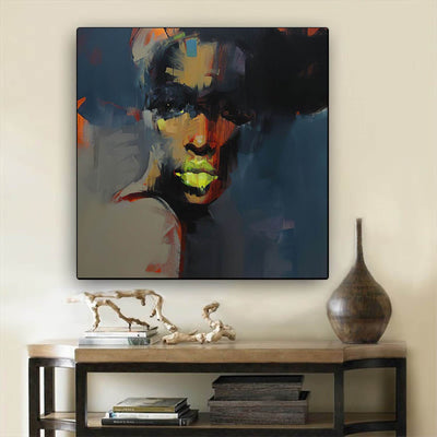 "BigProStore Black History Art Beautiful Melanin Poppin Girl African American Canvas Wall Art Afrocentric Wall Decor BPS80260 24"" x 24"" x 0.75"" Square Canvas"