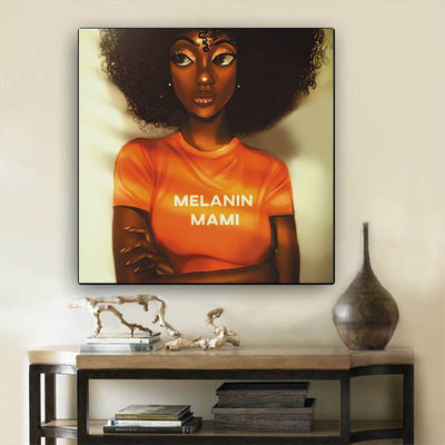 "BigProStore Black History Art Cute African American Girl African Canvas Afrocentric Home Decor Ideas BPS70995 12"" x 12"" x 0.75"" Square Canvas"