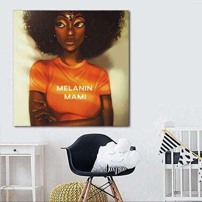 "BigProStore Black History Art Cute African American Girl African Canvas Afrocentric Home Decor Ideas BPS70995 24"" x 24"" x 0.75"" Square Canvas"