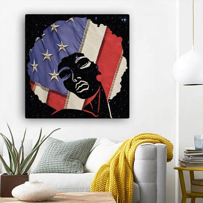 "BigProStore Black History Art Cute Afro American Girl African American Abstract Art Afrocentric Decor BPS42267 12"" x 12"" x 0.75"" Square Canvas"