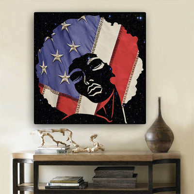 "BigProStore Black History Art Cute Afro American Girl African American Abstract Art Afrocentric Decor BPS42267 24"" x 24"" x 0.75"" Square Canvas"