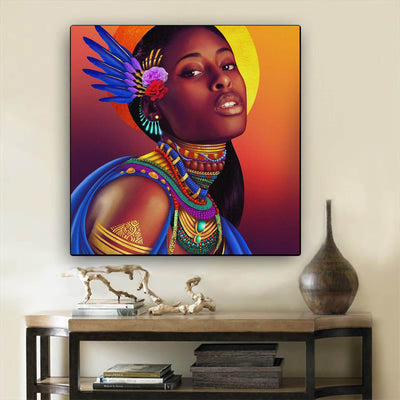 "BigProStore Black History Art Cute Afro American Girl African American Women Art Afrocentric Decor BPS47383 24"" x 24"" x 0.75"" Square Canvas"