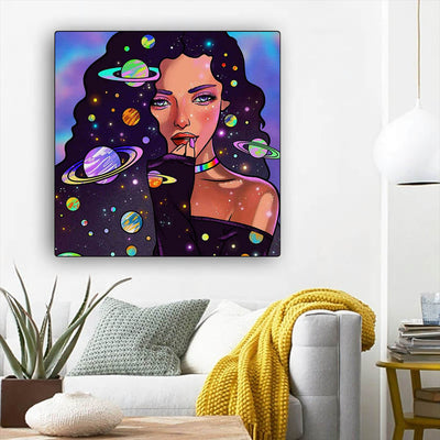 "BigProStore Black History Art Cute Afro American Girl African American Women Art Afrocentric Living Room Ideas BPS69187 12"" x 12"" x 0.75"" Square Canvas"