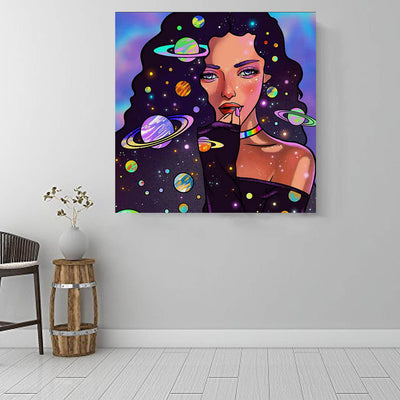 "BigProStore Black History Art Cute Afro American Girl African American Women Art Afrocentric Living Room Ideas BPS69187 16"" x 16"" x 0.75"" Square Canvas"