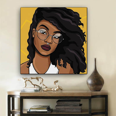 "BigProStore Black History Art Cute Afro American Woman African Canvas Wall Art Afrocentric Living Room Ideas BPS95470 12"" x 12"" x 0.75"" Square Canvas"