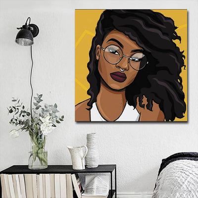 "BigProStore Black History Art Cute Afro American Woman African Canvas Wall Art Afrocentric Living Room Ideas BPS95470 16"" x 16"" x 0.75"" Square Canvas"