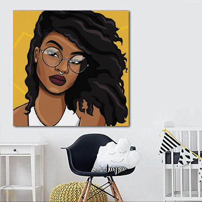 "BigProStore Black History Art Cute Afro American Woman African Canvas Wall Art Afrocentric Living Room Ideas BPS95470 24"" x 24"" x 0.75"" Square Canvas"