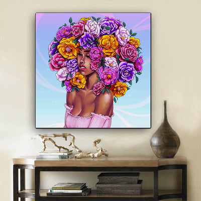 "BigProStore Black History Art Cute Black Afro Girls African American Black Art Afrocentric Decorating Ideas BPS64006 24"" x 24"" x 0.75"" Square Canvas"