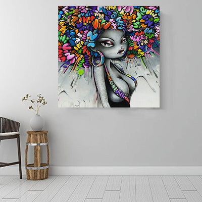 "BigProStore Black History Art Cute Black American Girl African Canvas Afrocentric Wall Decor BPS82060 16"" x 16"" x 0.75"" Square Canvas"