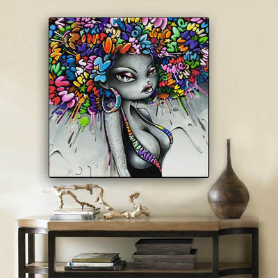 "BigProStore Black History Art Cute Black American Girl African Canvas Afrocentric Wall Decor BPS82060 24"" x 24"" x 0.75"" Square Canvas"
