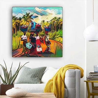 "BigProStore Black History Art Cute Black American Woman African American Wall Art And Decor Afrocentric Home Decor Ideas BPS22818 12"" x 12"" x 0.75"" Square Canvas"
