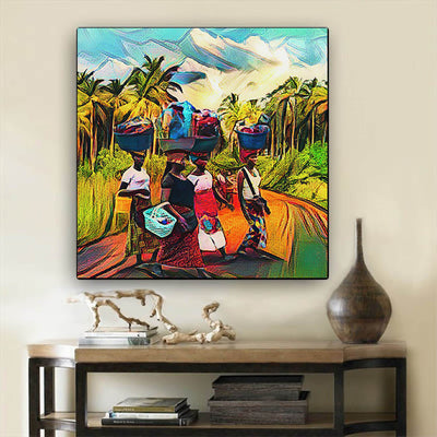 "BigProStore Black History Art Cute Black American Woman African American Wall Art And Decor Afrocentric Home Decor Ideas BPS22818 24"" x 24"" x 0.75"" Square Canvas"