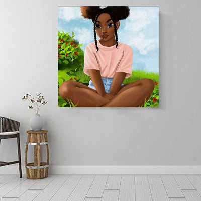 "BigProStore Black History Art Cute Black Girl African American Framed Wall Art Afrocentric Wall Decor BPS62275 16"" x 16"" x 0.75"" Square Canvas"