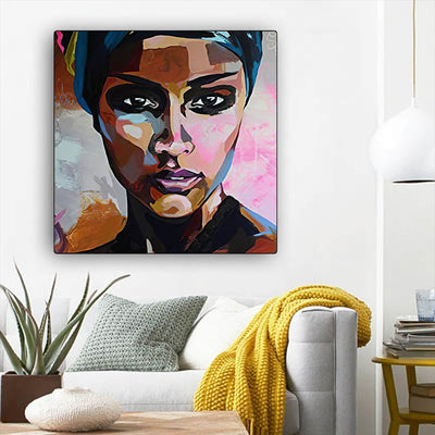 "BigProStore Black History Art Pretty African American Woman Afro American Art Afrocentric Home Decor BPS12562 12"" x 12"" x 0.75"" Square Canvas"