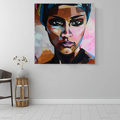 "BigProStore Black History Art Pretty African American Woman Afro American Art Afrocentric Home Decor BPS12562 16"" x 16"" x 0.75"" Square Canvas"