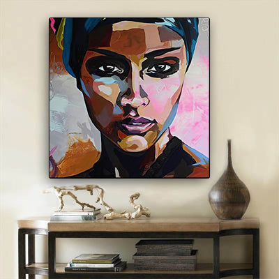 "BigProStore Black History Art Pretty African American Woman Afro American Art Afrocentric Home Decor BPS12562 24"" x 24"" x 0.75"" Square Canvas"