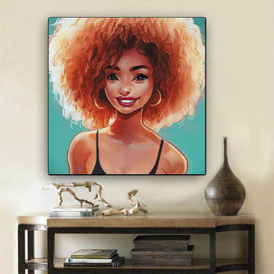 "BigProStore Black History Art Pretty Afro American Woman Black History Artwork Afrocentric Decorating Ideas BPS60404 12"" x 12"" x 0.75"" Square Canvas"