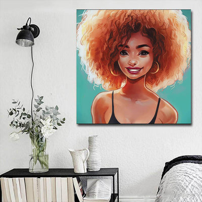 "BigProStore Black History Art Pretty Afro American Woman Black History Artwork Afrocentric Decorating Ideas BPS60404 16"" x 16"" x 0.75"" Square Canvas"