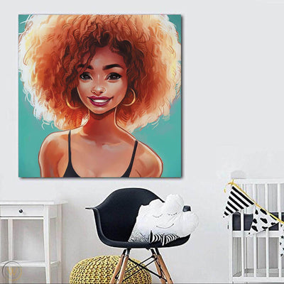"BigProStore Black History Art Pretty Afro American Woman Black History Artwork Afrocentric Decorating Ideas BPS60404 24"" x 24"" x 0.75"" Square Canvas"