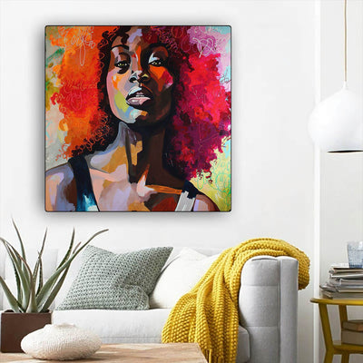 "BigProStore Black History Art Pretty Afro Girl Black History Canvas Art Afrocentric Decor BPS39675 12"" x 12"" x 0.75"" Square Canvas"