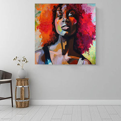 "BigProStore Black History Art Pretty Afro Girl Black History Canvas Art Afrocentric Decor BPS39675 16"" x 16"" x 0.75"" Square Canvas"