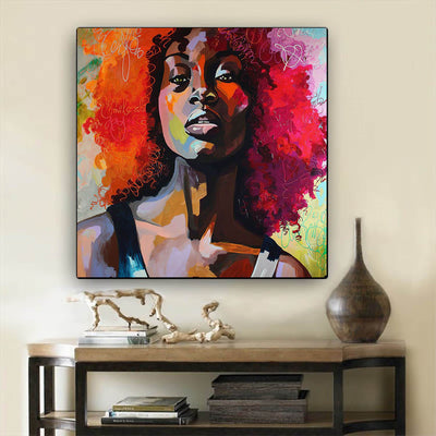 "BigProStore Black History Art Pretty Afro Girl Black History Canvas Art Afrocentric Decor BPS39675 24"" x 24"" x 0.75"" Square Canvas"