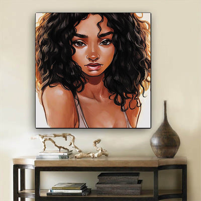 "BigProStore Black History Art Pretty Black American Woman Abstract African Wall Art Afrocentric Living Room Ideas BPS38817 12"" x 12"" x 0.75"" Square Canvas"