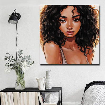 "BigProStore Black History Art Pretty Black American Woman Abstract African Wall Art Afrocentric Living Room Ideas BPS38817 16"" x 16"" x 0.75"" Square Canvas"