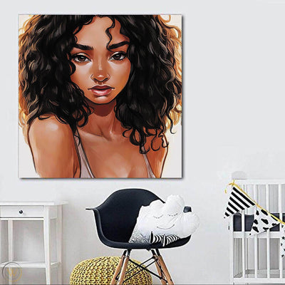 "BigProStore Black History Art Pretty Black American Woman Abstract African Wall Art Afrocentric Living Room Ideas BPS38817 24"" x 24"" x 0.75"" Square Canvas"