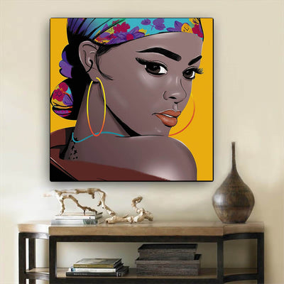 "BigProStore Black History Art Pretty Black Girl African American Women Art Afrocentric Home Decor BPS95194 12"" x 12"" x 0.75"" Square Canvas"