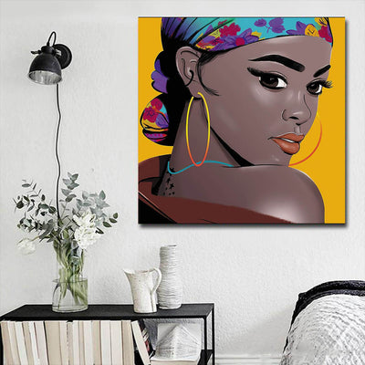 "BigProStore Black History Art Pretty Black Girl African American Women Art Afrocentric Home Decor BPS95194 16"" x 16"" x 0.75"" Square Canvas"