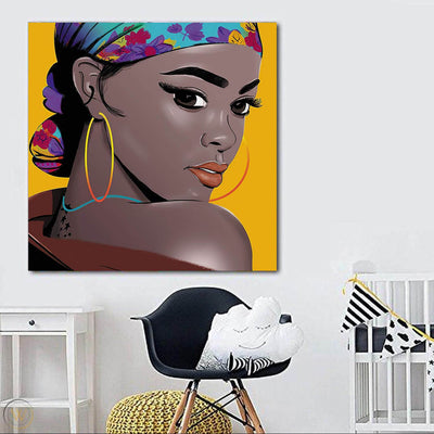 "BigProStore Black History Art Pretty Black Girl African American Women Art Afrocentric Home Decor BPS95194 24"" x 24"" x 0.75"" Square Canvas"