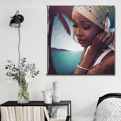 "BigProStore Black History Art Pretty Girl With Afro Black History Canvas Art Afrocentric Home Decor BPS44026 16"" x 16"" x 0.75"" Square Canvas"