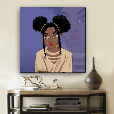 "BigProStore Black History Art Pretty Melanin Girl African American Black Art Afrocentric Living Room Ideas BPS29395 12"" x 12"" x 0.75"" Square Canvas"