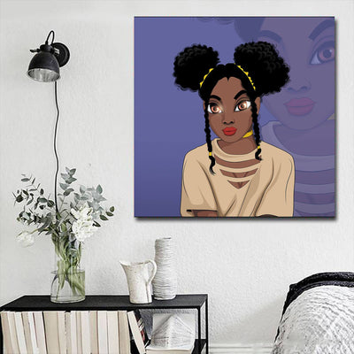 "BigProStore Black History Art Pretty Melanin Girl African American Black Art Afrocentric Living Room Ideas BPS29395 16"" x 16"" x 0.75"" Square Canvas"