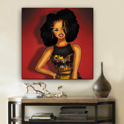 "BigProStore Black History Art Pretty Melanin Girl African American Canvas Wall Art Afrocentric Home Decor Ideas BPS78816 12"" x 12"" x 0.75"" Square Canvas"