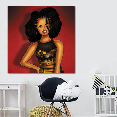 "BigProStore Black History Art Pretty Melanin Girl African American Canvas Wall Art Afrocentric Home Decor Ideas BPS78816 24"" x 24"" x 0.75"" Square Canvas"