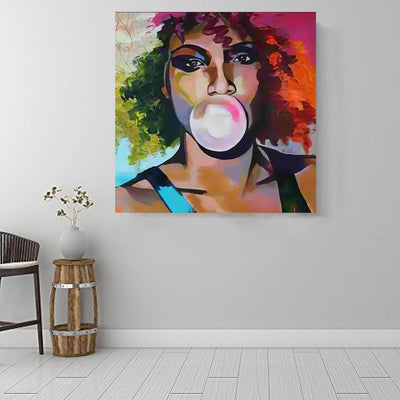 "BigProStore Black History Art Pretty Melanin Girl African Black Art Afrocentric Decorating Ideas BPS38536 16"" x 16"" x 0.75"" Square Canvas"