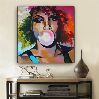 "BigProStore Black History Art Pretty Melanin Girl African Black Art Afrocentric Decorating Ideas BPS38536 24"" x 24"" x 0.75"" Square Canvas"