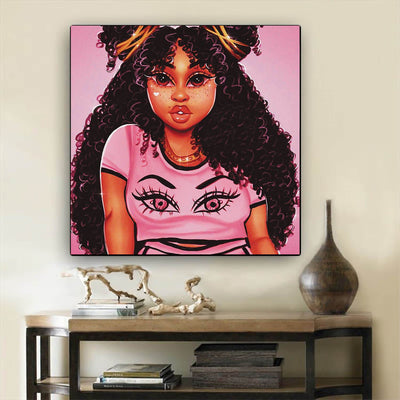 "BigProStore Black History Art Pretty Melanin Poppin Girl African American Framed Art Afrocentric Wall Decor BPS62503 12"" x 12"" x 0.75"" Square Canvas"