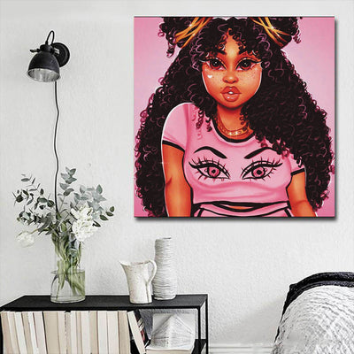 "BigProStore Black History Art Pretty Melanin Poppin Girl African American Framed Art Afrocentric Wall Decor BPS62503 16"" x 16"" x 0.75"" Square Canvas"