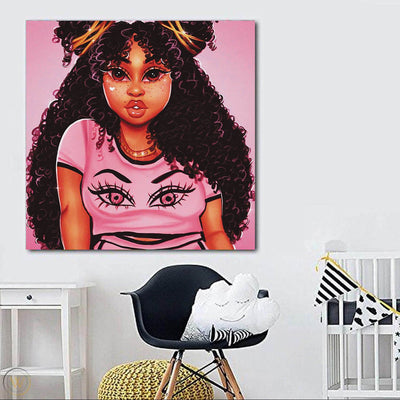 "BigProStore Black History Art Pretty Melanin Poppin Girl African American Framed Art Afrocentric Wall Decor BPS62503 24"" x 24"" x 0.75"" Square Canvas"