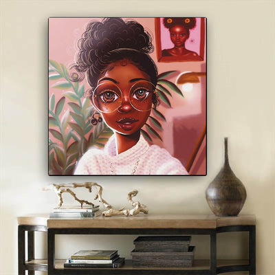 "BigProStore Black History Art Pretty Melanin Poppin Girl African Black Art Afrocentric Living Room Ideas BPS16285 12"" x 12"" x 0.75"" Square Canvas"